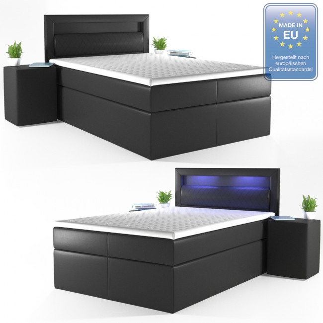 boxspringbett led doppelbett hotelbett ehebett 140 x200 schwarz. Black Bedroom Furniture Sets. Home Design Ideas