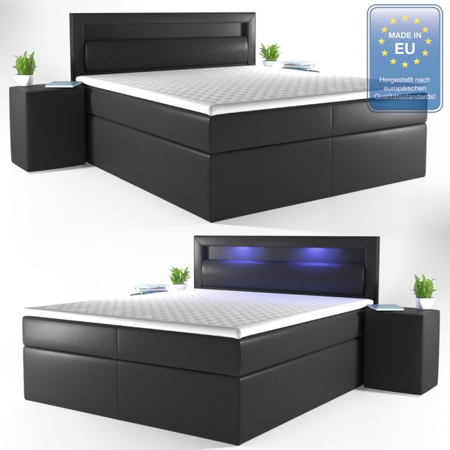 boxspringbett led doppelbett hotelbett ehebett 180 x200 schwarz. Black Bedroom Furniture Sets. Home Design Ideas