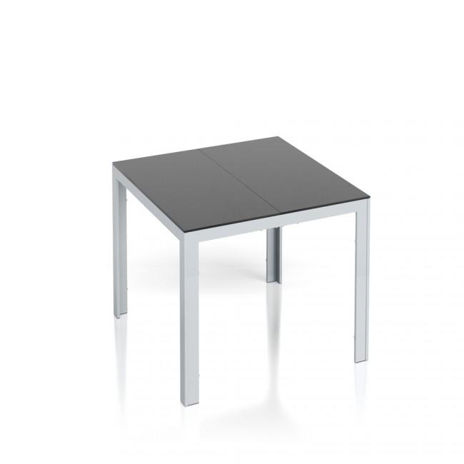 alu gartentisch 87x87cm esstisch terrassentisch gartenm bel glasplatte balkontisch tisch. Black Bedroom Furniture Sets. Home Design Ideas