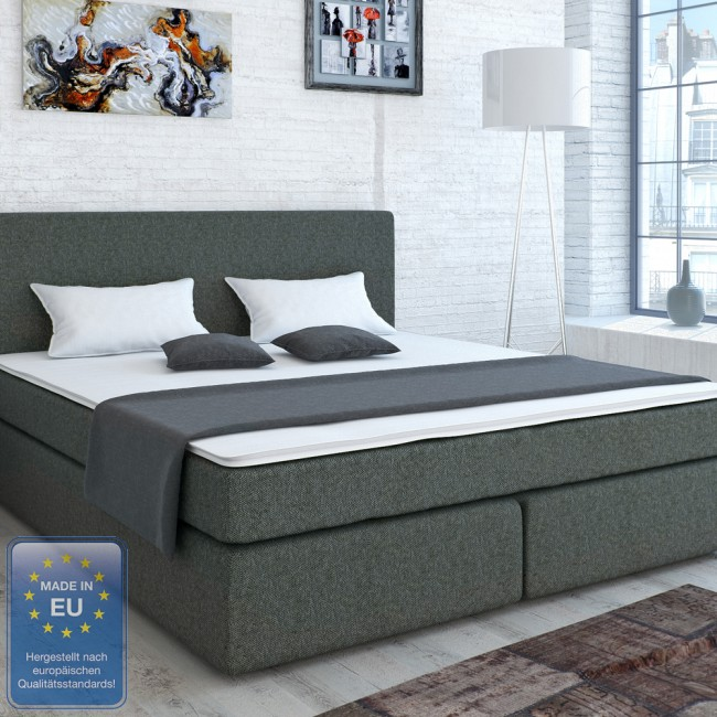 boxspringbett doppelbett hotelbett ehebett grau 180x200. Black Bedroom Furniture Sets. Home Design Ideas