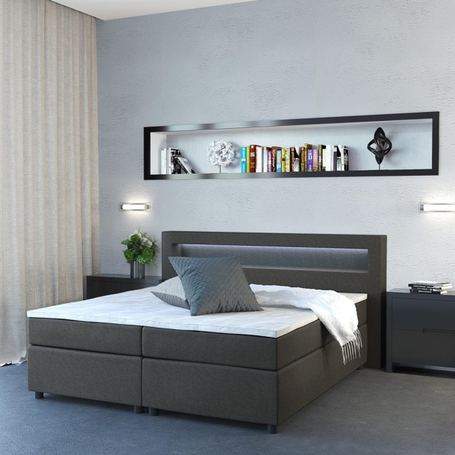 design boxspringbett doppelbett ehebett grau led. Black Bedroom Furniture Sets. Home Design Ideas