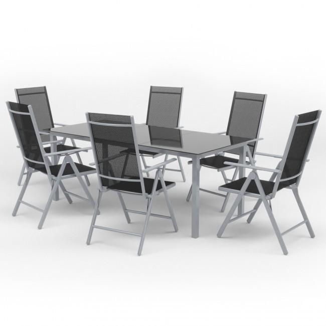 Alu Sitzgarnitur Gartenmöbel Set 7-teilig Garnitur Sitzgruppe Tisch ...