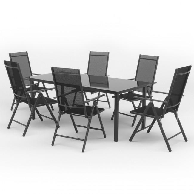Alu Sitzgarnitur Gartenmobel Set 7 Teilig Garnitur Sitzgruppe Tisch 190x87 6 Stuhle Anthrazit