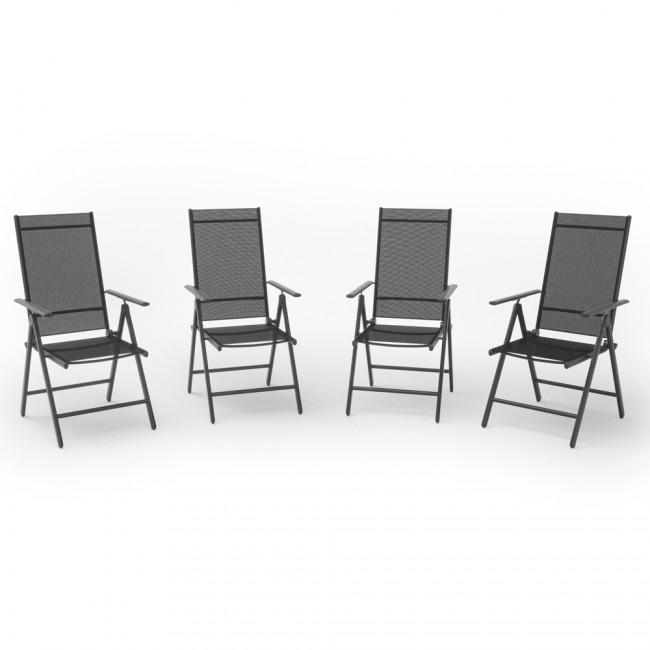 4er set alu gartenstuhl anthrazit klappstuhl hochlehner campingstuhl aluminium liegestuhl. Black Bedroom Furniture Sets. Home Design Ideas
