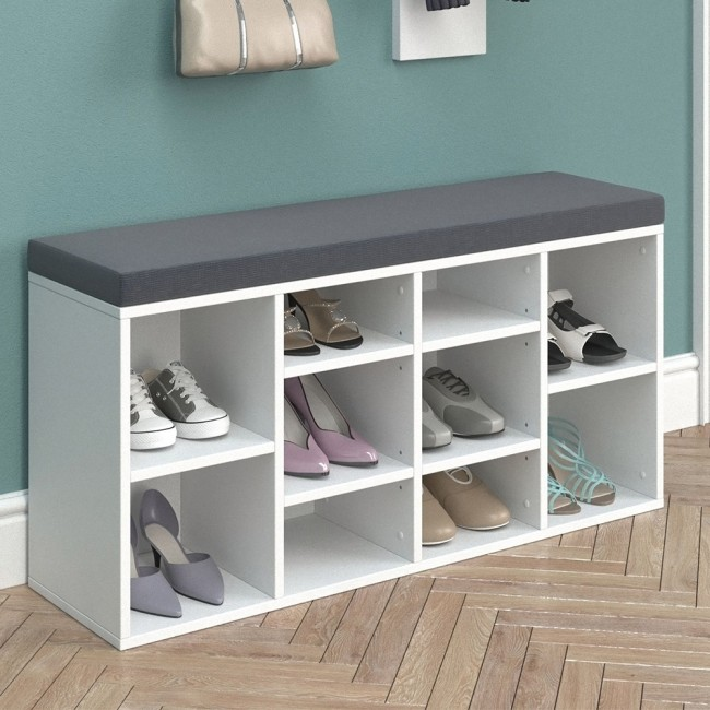 schuhbank schuhe schuhregal schuhschrank regal bank auflage wei. Black Bedroom Furniture Sets. Home Design Ideas