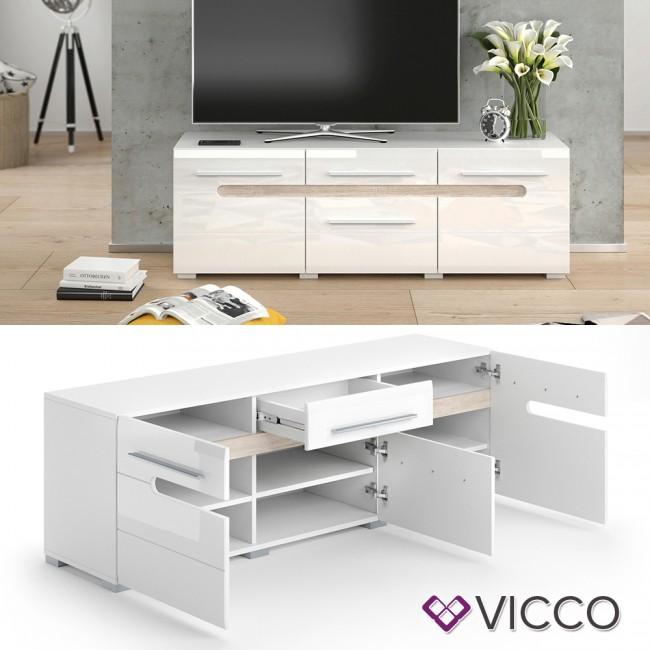 vicco lowboard byanko wei hochglanz. Black Bedroom Furniture Sets. Home Design Ideas