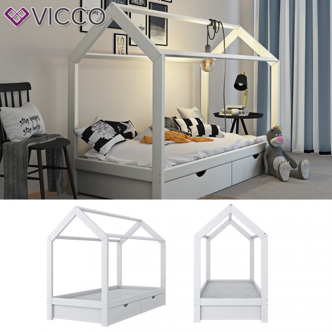 vicco hausbett kinderhaus kinderbett wiki 90x200cm mit schubladen holz wei. Black Bedroom Furniture Sets. Home Design Ideas