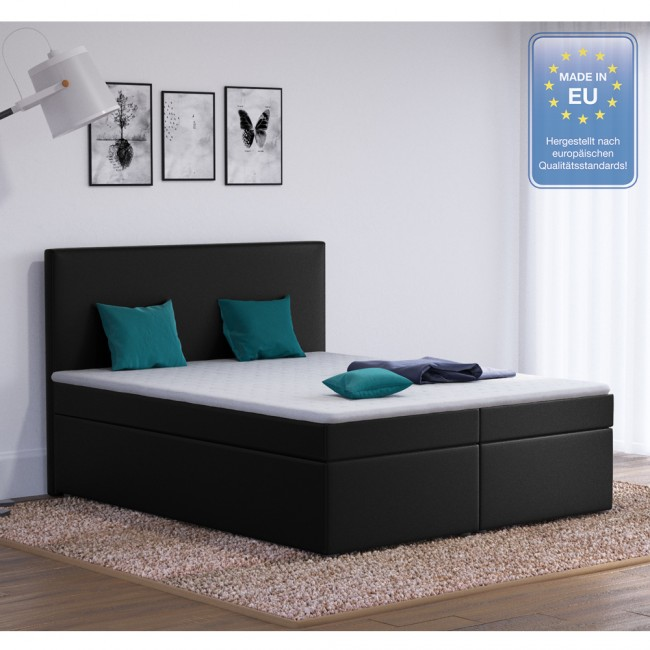 boxspringbett stoff schwarz 160 x 200 cm. Black Bedroom Furniture Sets. Home Design Ideas