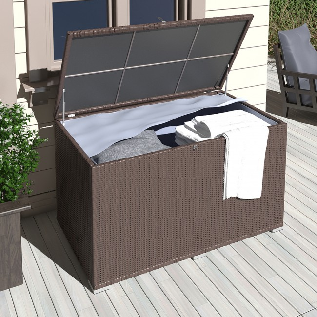 xxl kissenbox 950l braun polyrattan wasserdicht auflagenbox gartenbox gartentruhe aufbewahrungsbox. Black Bedroom Furniture Sets. Home Design Ideas