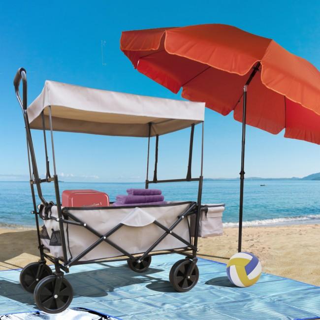 Bollerwagen Grau Faltbarer Strandwagen Handwagen