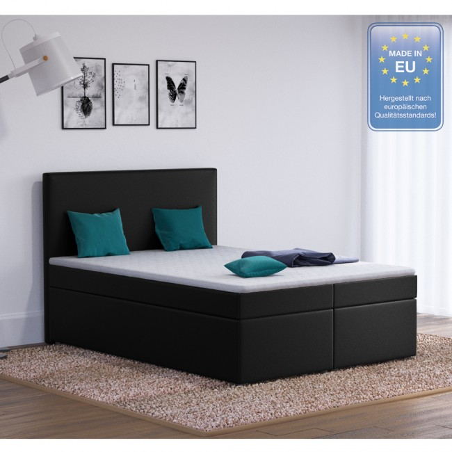 boxspringbett design hotelbett designerbett bett stoff schwarz 140 x 200 cm. Black Bedroom Furniture Sets. Home Design Ideas