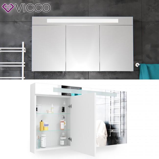 Badezimmerspiegel 120 Cm.Vicco 3d Led Spiegelschrank Weiss Badschrank Badspiegel Badezimmerspiegel Beleuchtung 120 Cm