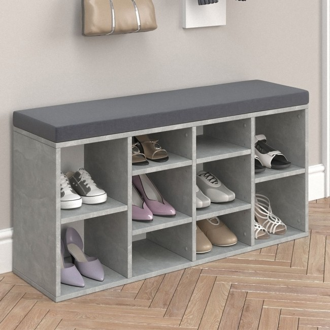 schuhregal beton mit anthrazit farbener auflage. Black Bedroom Furniture Sets. Home Design Ideas