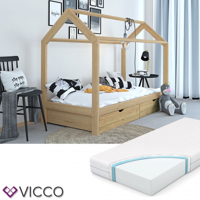 vicco hausbett kinderhaus kinderbett wiki 90x200cm mit schubladen holz natur inkl 7 zonen matratze. Black Bedroom Furniture Sets. Home Design Ideas
