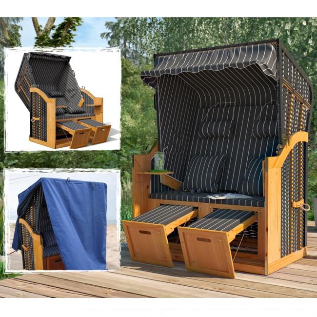 ostsee volllieger strandkorb xxl midnight schutzh lle gartenliege gartenstuhl strandstuhl. Black Bedroom Furniture Sets. Home Design Ideas