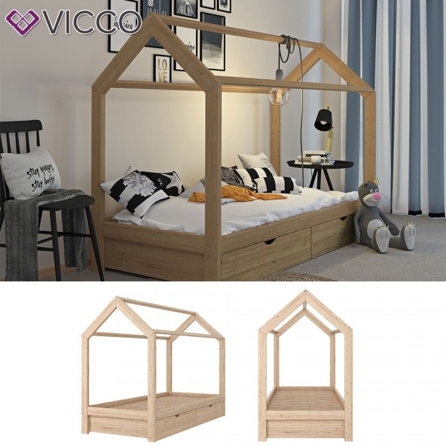 vicco hausbett kinderhaus kinderbett wiki 90x200cm mit schubladen holz natur. Black Bedroom Furniture Sets. Home Design Ideas