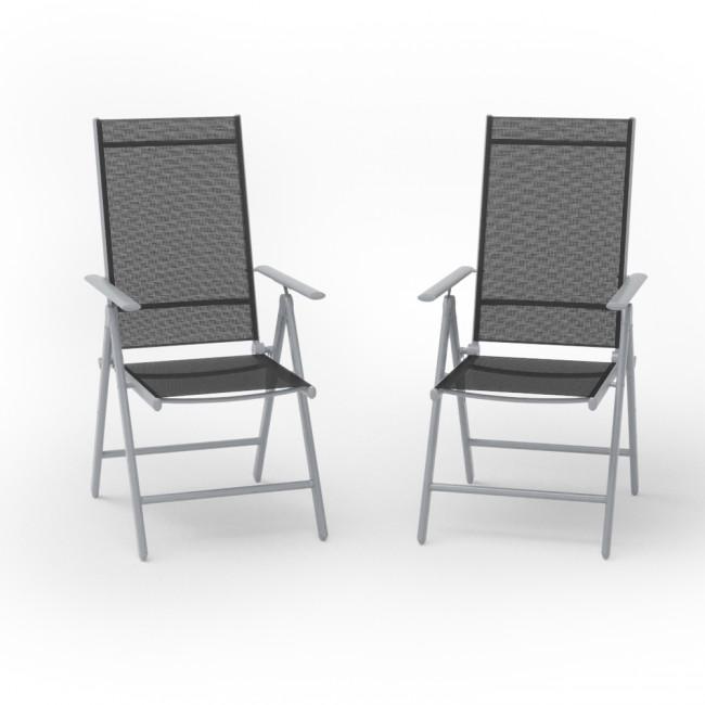2er set alu gartenstuhl klappstuhl hochlehner campingstuhl aluminium liegestuhl. Black Bedroom Furniture Sets. Home Design Ideas