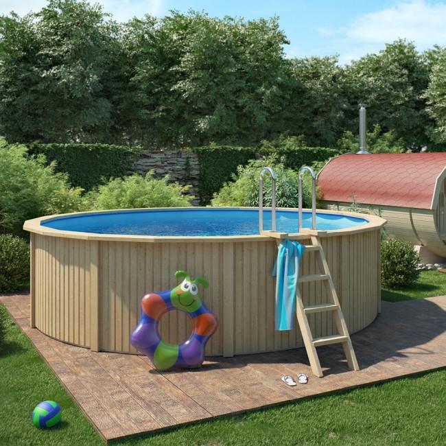 cooper holzpool pool mit stahlwand inkl filteranlage 460x120cm. Black Bedroom Furniture Sets. Home Design Ideas