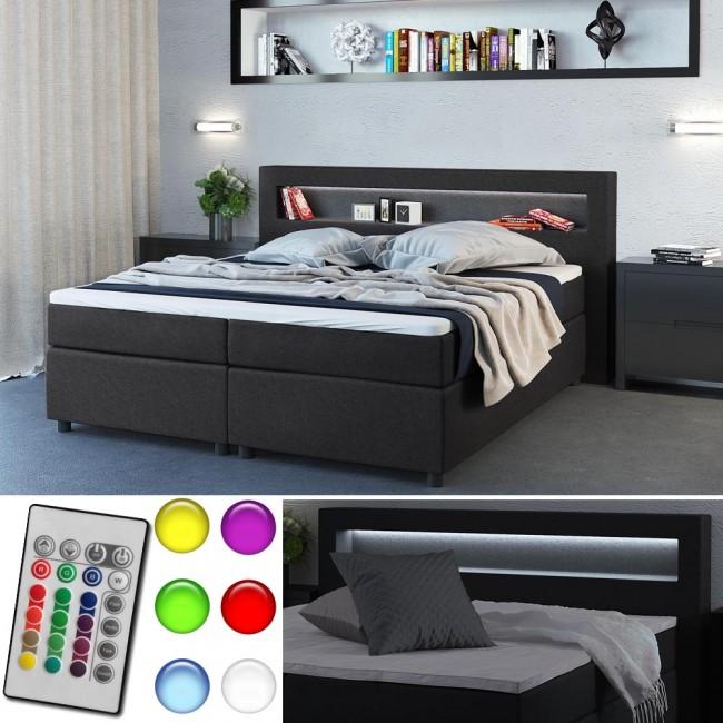 design boxspringbett doppelbett ehebett anthrazit led. Black Bedroom Furniture Sets. Home Design Ideas