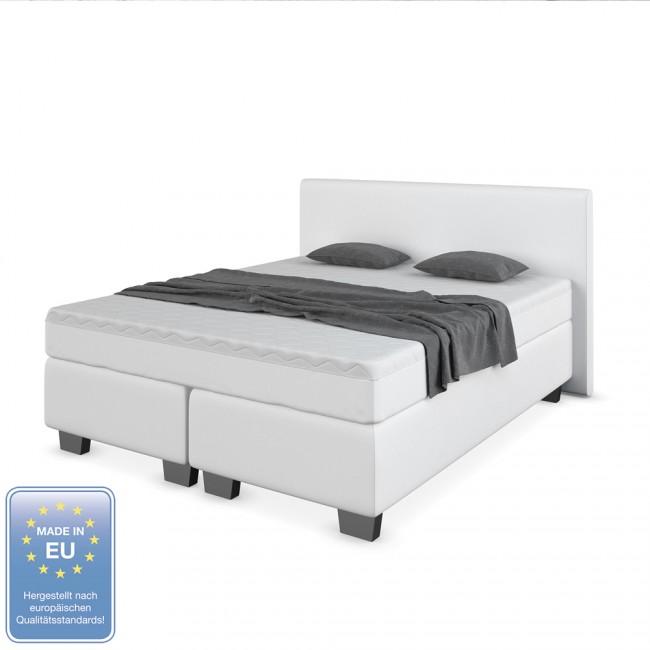 designer boxspringbett bett hotelbett kunstleder wei 160 x 200 cm. Black Bedroom Furniture Sets. Home Design Ideas