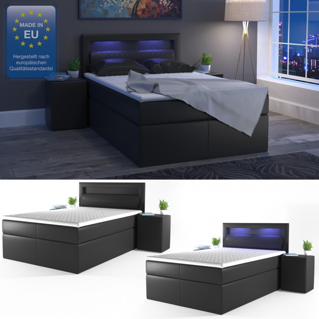 boxspringbett led doppelbett hotelbett ehebett 140 x200. Black Bedroom Furniture Sets. Home Design Ideas