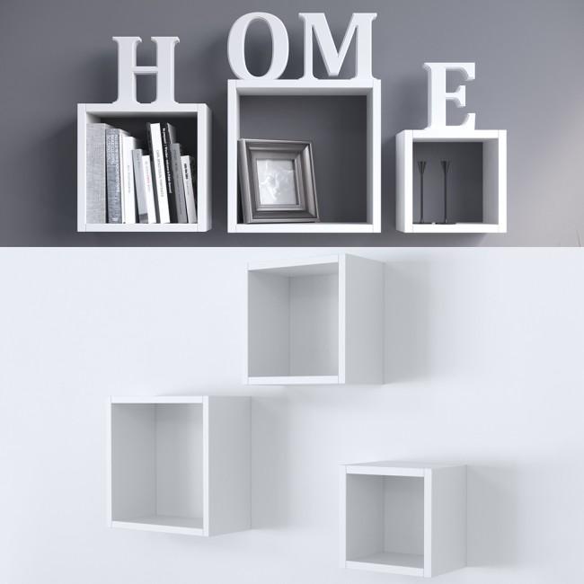 wandregal 3er set wei. Black Bedroom Furniture Sets. Home Design Ideas
