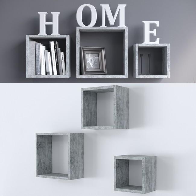 wandregal 3er set beton. Black Bedroom Furniture Sets. Home Design Ideas