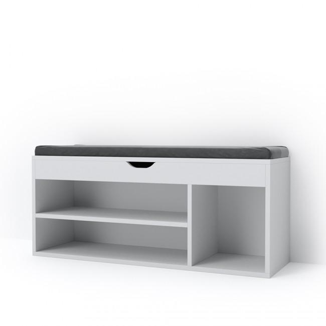 schuhbank schuhschrank mit stiefelfach und polsterablage. Black Bedroom Furniture Sets. Home Design Ideas