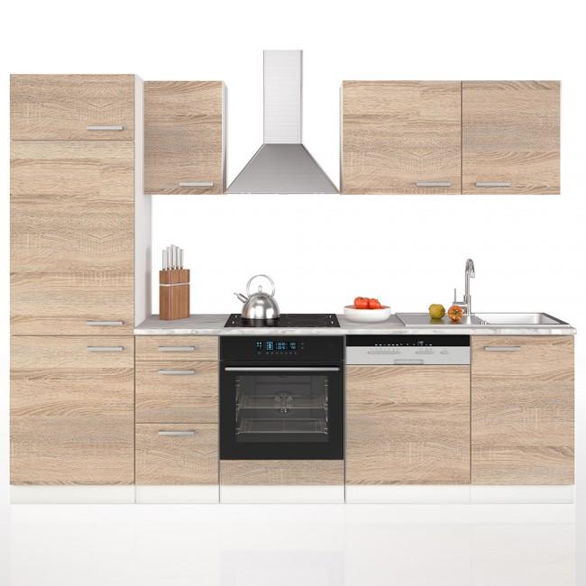 Küche 270 cm Küchenzeile Küchenblock Einbauküche Komplettküche – Sonoma