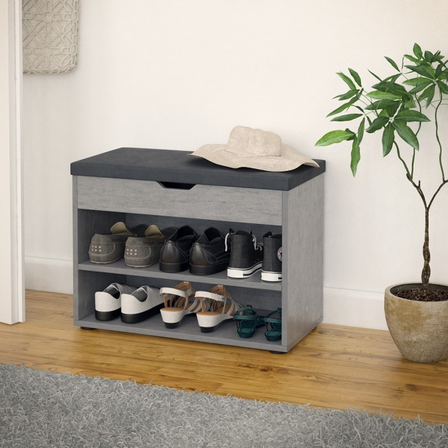 schuhbank 6 paar schuhe grau beton schuhschrank. Black Bedroom Furniture Sets. Home Design Ideas