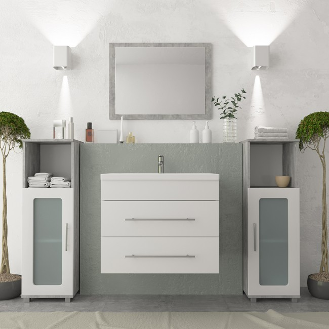 vicco badm bel set waschplatz 60 cm wei. Black Bedroom Furniture Sets. Home Design Ideas