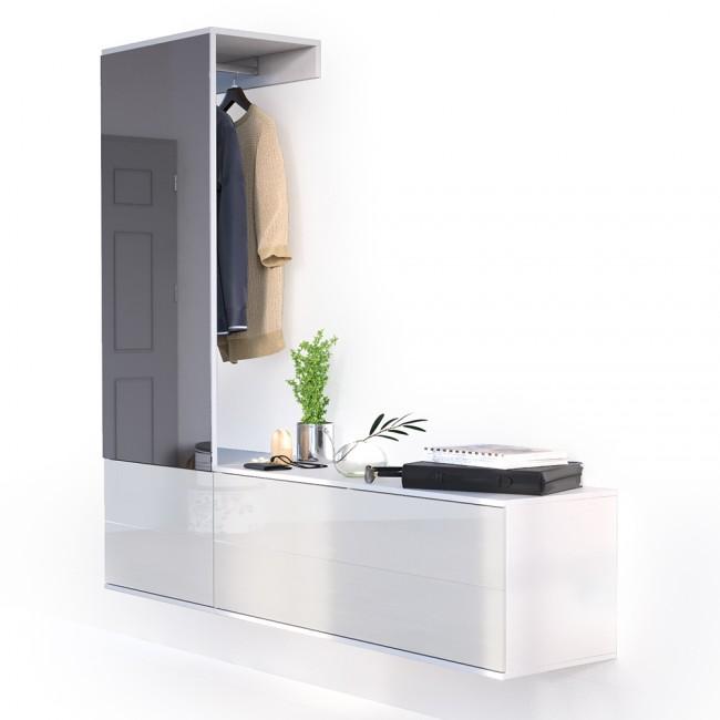 flurgarderobe mit xxl spiegel. Black Bedroom Furniture Sets. Home Design Ideas