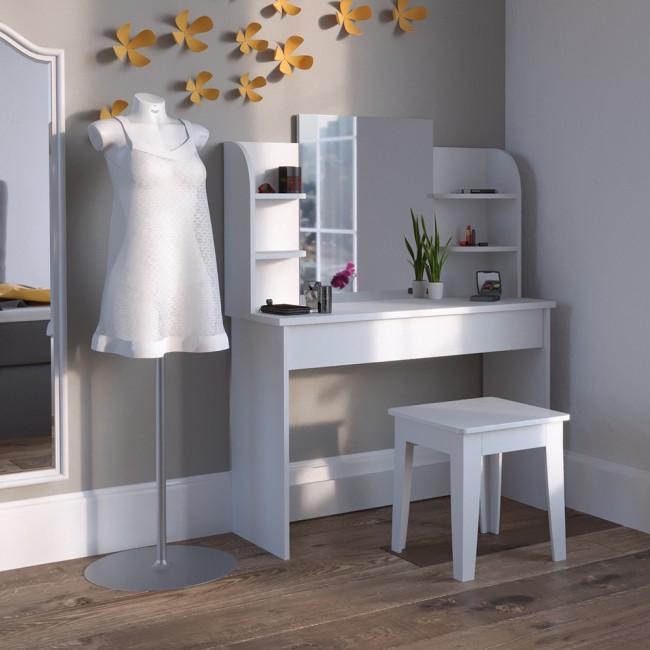 schminktisch kosmetiktisch frisierkommode frisiertisch spiegel arielle wei. Black Bedroom Furniture Sets. Home Design Ideas