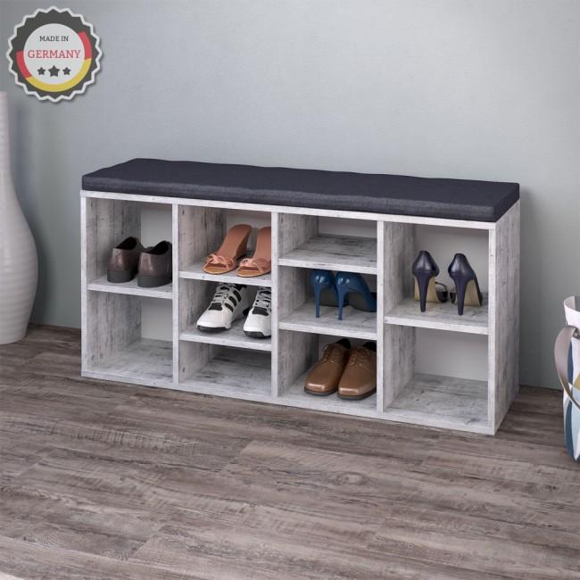 schuhregal beton mit anthrazit farbener auflage. Black Bedroom Furniture Sets. Home Design Ideas