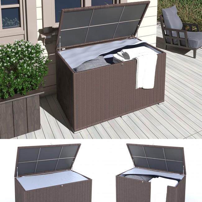 xxl kissenbox 950l braun polyrattan wasserdicht auflagenbox gartenbox gartentruhe aufbewahrungsbox. Black Bedroom Furniture Sets. Home Design Ideas