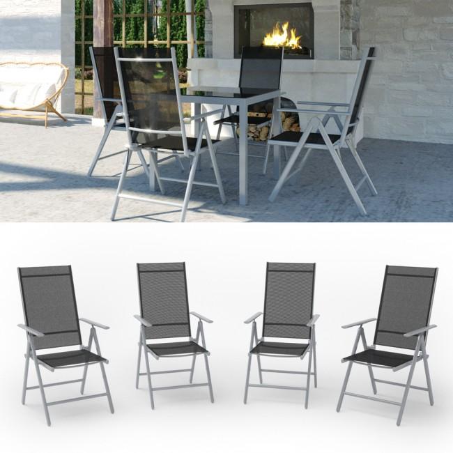 4er set alu gartenstuhl klappstuhl hochlehner campingstuhl aluminium liegestuhl. Black Bedroom Furniture Sets. Home Design Ideas