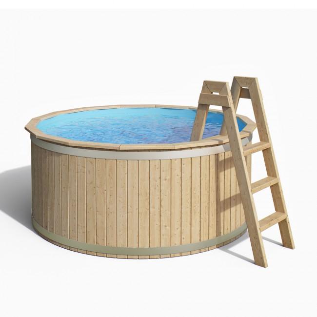 CARL Holzpool Massivholz Mit Poolfolie Und Vollholzleiter
