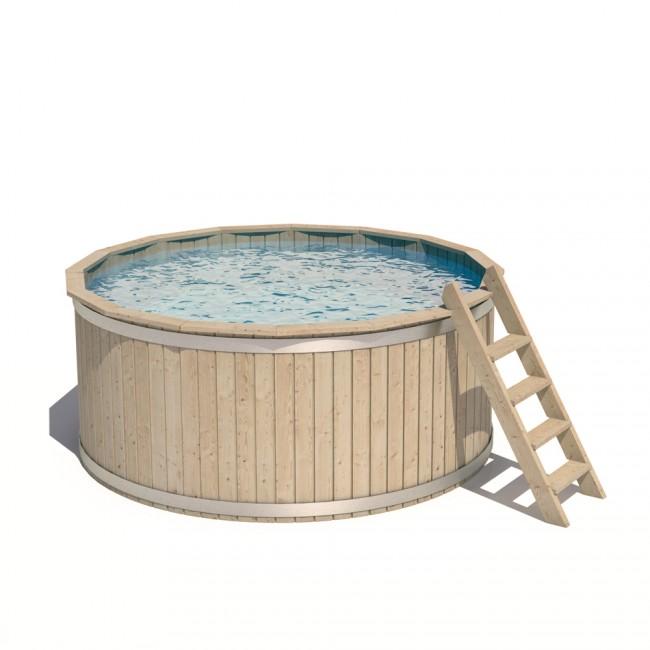 casper massivholz holzpool tauchbecken swimmingpool rundpool 240x107cm. Black Bedroom Furniture Sets. Home Design Ideas