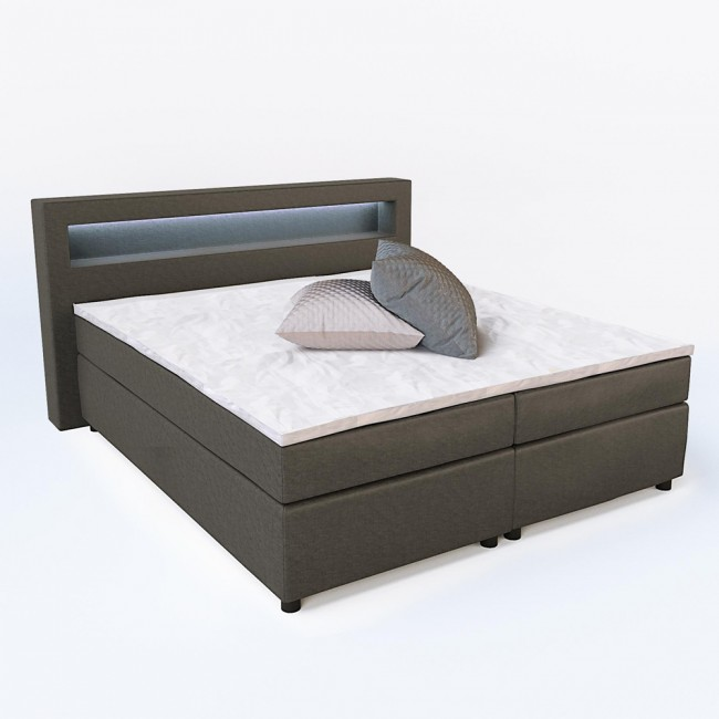 design boxspringbett doppelbett ehebett grau led. Black Bedroom Furniture Sets. Home Design Ideas