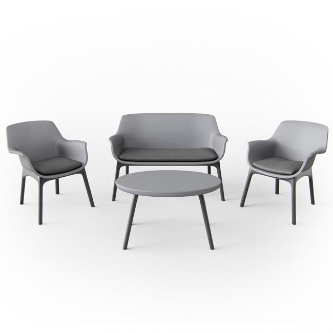 gartenm bel lounge set sitzgarnitur sitzgruppe balkonm bel kunststoff anthrazit. Black Bedroom Furniture Sets. Home Design Ideas