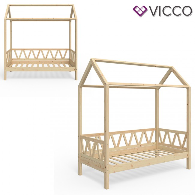 vicco hausbett kinderhaus kinderbett lisa 80x160cm holz natur. Black Bedroom Furniture Sets. Home Design Ideas
