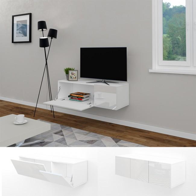 Wohnwand schwebend  TV Lowboard 120cm Weiß Hochglanz Sideboard Wandschrank ...