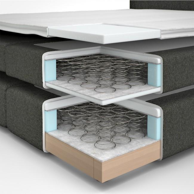 boxspringbett doppelbett hotelbett ehebett grau 140x200. Black Bedroom Furniture Sets. Home Design Ideas