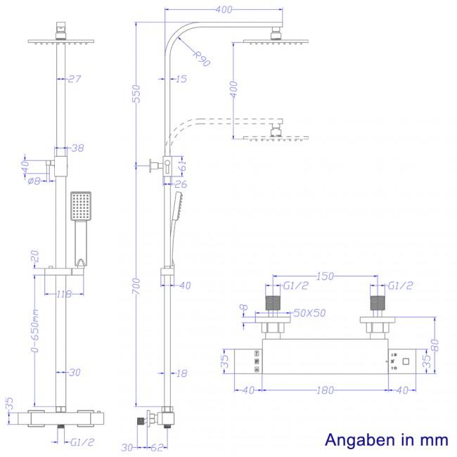 Duscharmatur H?he : Duschsystem inkl. Thermostat + Duschkopf 40×40