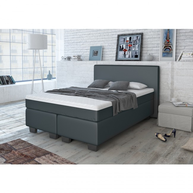 boxspringbett schwarz 140x200 cm. Black Bedroom Furniture Sets. Home Design Ideas
