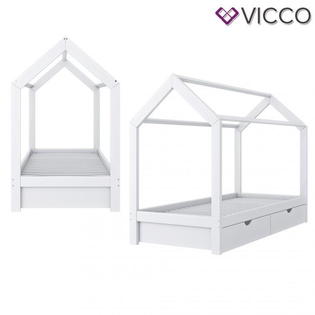 Vicco Hausbett Kinderhaus Kinderbett Wiki 90x200cm Mit Schubladen