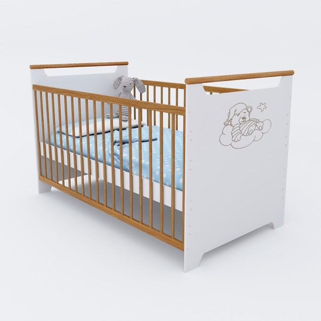 babybett kinderbett gitterbett bett 140 x 70 cm wei natu. Black Bedroom Furniture Sets. Home Design Ideas