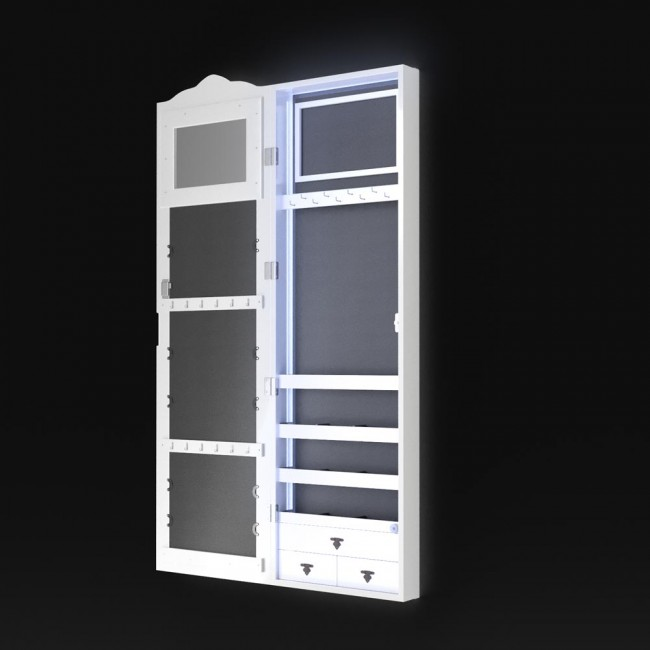 schmuckschrank spiegelschrank h ngeschrank led beleuchtung lina. Black Bedroom Furniture Sets. Home Design Ideas