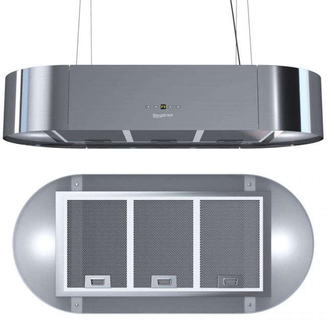 bergstroem dunstabzugshaube freih ngend seil klaas edelstahl. Black Bedroom Furniture Sets. Home Design Ideas