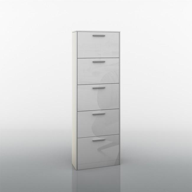 schuhschrank kipper 5 f cher wei hochglanz. Black Bedroom Furniture Sets. Home Design Ideas